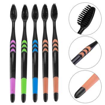 5/10 sztuk podwójnie Ultra miękki szczoteczka bambusowa węgiel Nano szczoteczka do zębów czarny szczotka do zębów Dental higiena osobistej szczoteczka do zębów czarny