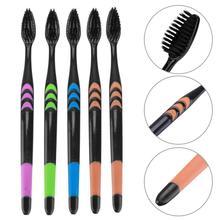 5/10pcs Bamboo Charcoal Toothbrush Whitening Soft Nano Bristle Adult Clean Teeth Brush Dental Oral care Tools Black Long Handle