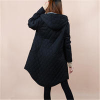 2018 Plus 5XL Women's Jackets Autumn Winter Hooded Coats Women Outerwear Black Solid Plaid Casual Female Parka Clothing XH752