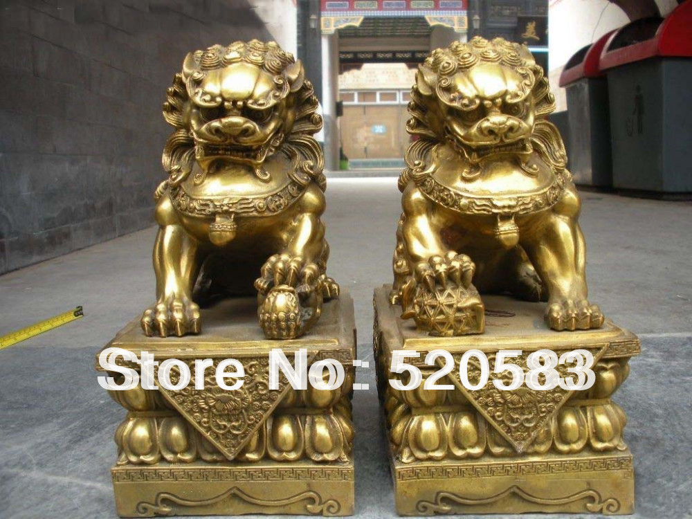 free China pure Brass Royal Palace Evil Guardian Door Foo Dog Lion pair fast