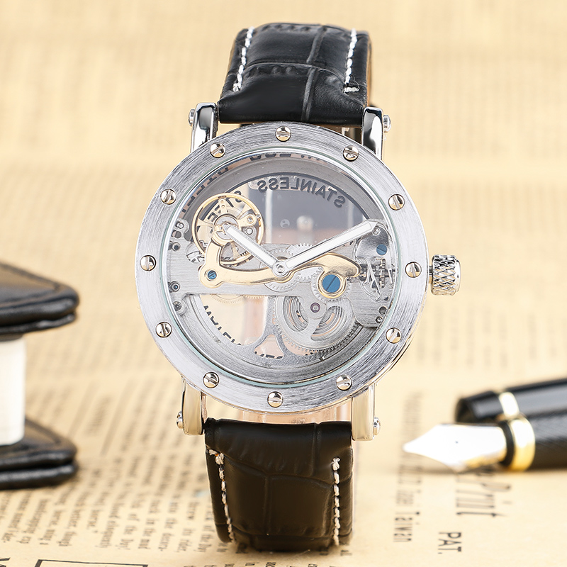 Luxury Cool Hollow Dial Men Mechanical Wristwatch Automatic Self-Wind Black Genuine Leather Band Modern Male Clock Best Gift luxury cool high quality automatic self wind skeleton hollow dial mechanical watch with leather strap gift to men