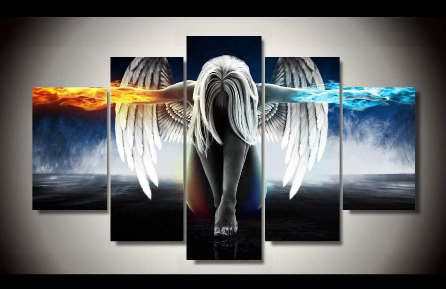 5 Piece Canvas Art Angeles Girls Anime Demons Canvas Painting Children'S Room Decoration Print Canvas Pictures Wall Art Frame