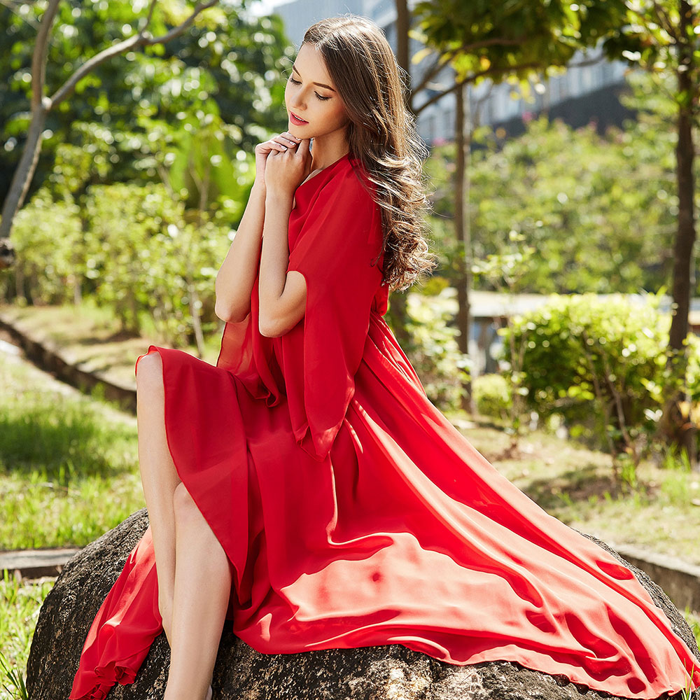 2019 Hot Sale Solid Color V Neck Summer Bridesmaid Chiffon Maxi dress Holiday Beach Sundress vestidos