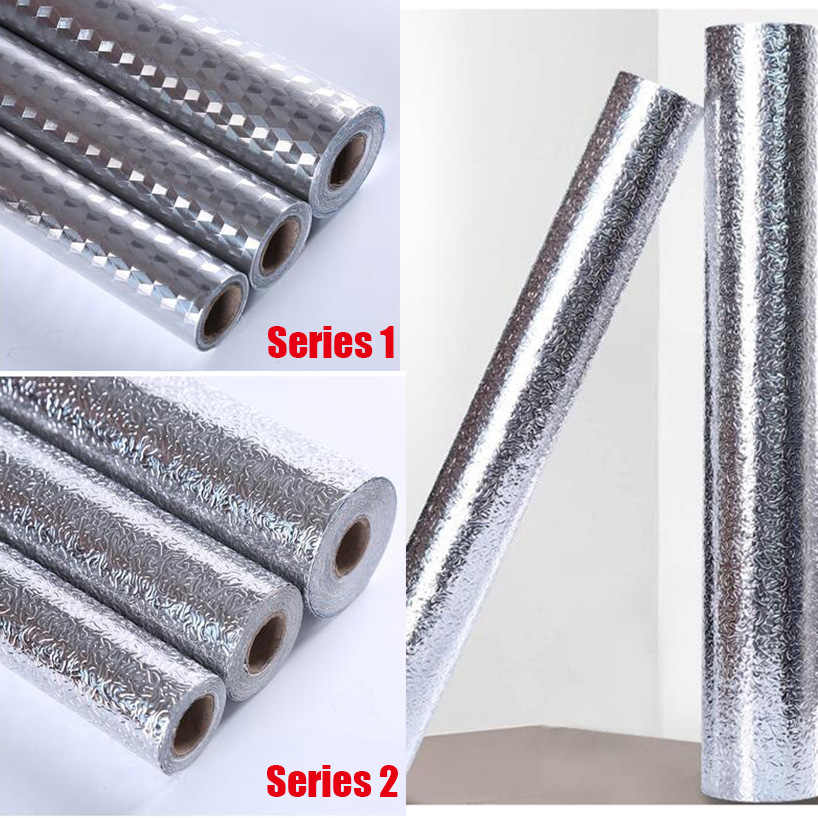 Wall Stove Aluminum Foil Oil-proof Stickers for kitchen, High-temperature Self-adhesive Croppable wallpaper for walls in rolls
