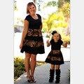 2017 Leopard Fashion mommy and me Familia Trajes A Juego vestido de madre e hija de ropa Madre e hija familia mirada nmd