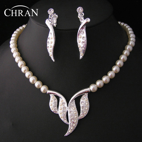 CHRAN Elegant Imitation Pearl Costume Wedding Jewelry Sets For Women Promotion Fashion Leaf Shape Crystal Jewelry Accessories