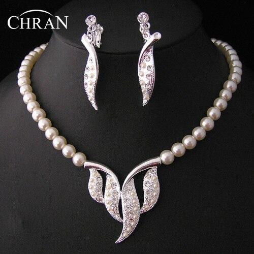 CHRAN Leaf Designer Costume Imitation Pearl Wedding Jewelry Sets Promotion Fashion Crystal Bridal Women Jewelry