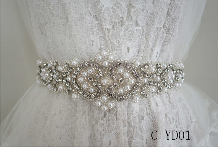 Elegant Vintage Crystal Wedding Party Bride Bridesmaid Belt Sash Accessories 3m Cummerbunds Waistband Girdle Accessories Women (1)