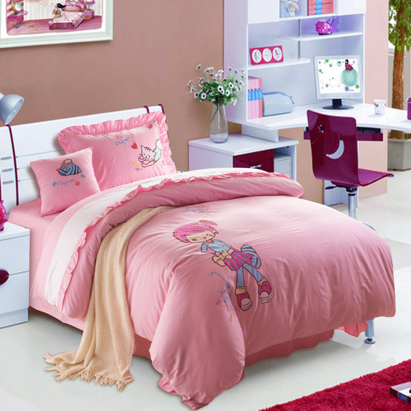 Pink Cartoon Girl Cat Applique Embroidered Bedding Set