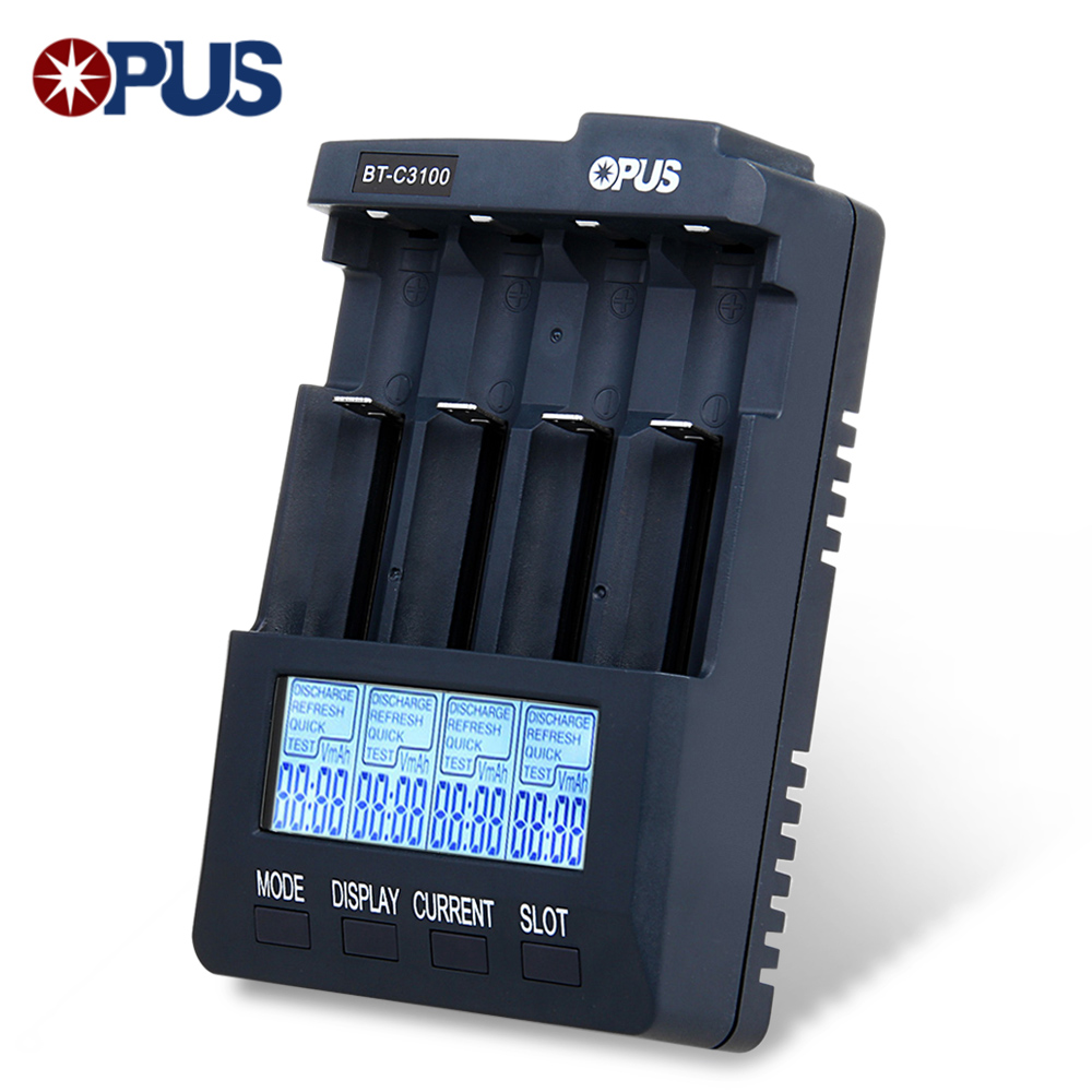 Opus BT-C3100 V2.2 Digital inteligente 4 ranuras LCD cargador de batería para Li-Ion NiCd NiMh baterías recargables carga