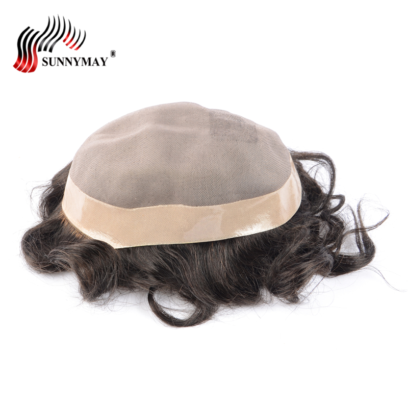 Sunnymay stock fine mono with skin around , hair men toupee , hair replacement men toupe ...