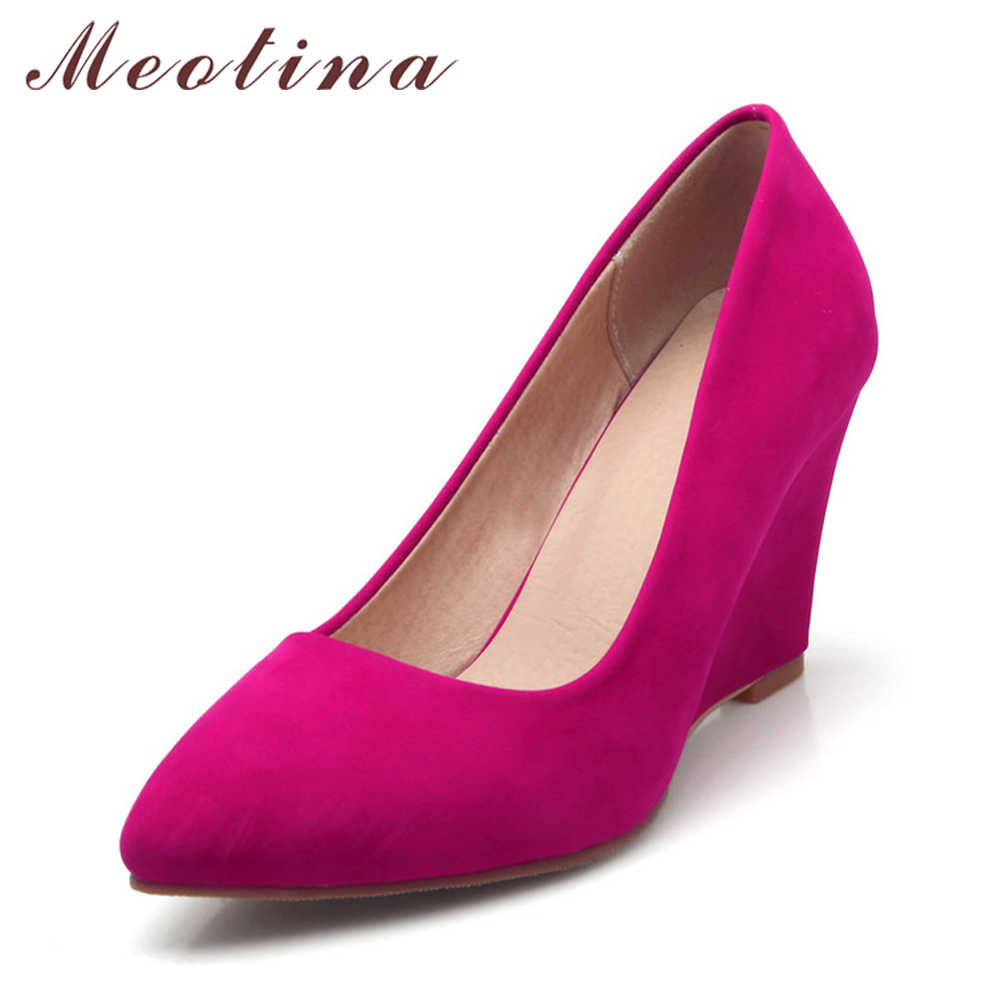Meotina Women Shoes Beige Pumps Flock Pointed Toe High Heels Wedges  Footwear Ladies Shoes Wedge Heels 08852d8d7ff9