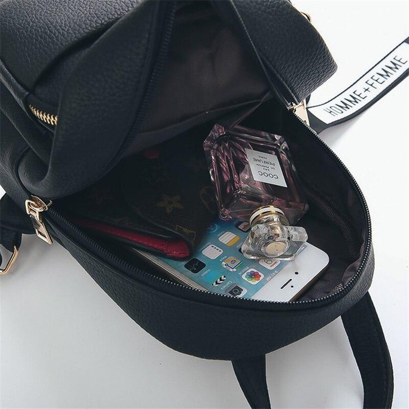 Miyahouse, женские Мини рюкзаки из мягкой искусственной кожи, школьные сумки для студентов с подвеской в виде пушистого шарика, модные маленькие дорожные сумки Mochila-4