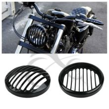 5.75 5 3/4 CNC Led Headlight Grill Cover For Harley Davidson Sportster XL 883 Iron 1200 04-14 Custom XL1200C Motorcycle