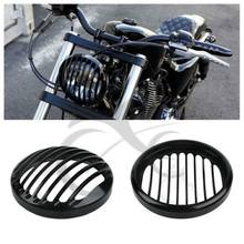 "5.75"" 5 3/4"" CNC Led Headlight Grill Cover For Harley Davidson Sportster XL 883 Iron 1200 04-14 Custom XL1200C 1200 Motorcycle(China)"