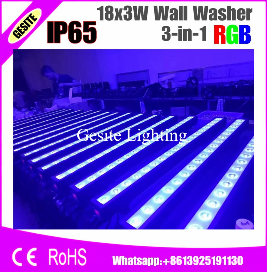 2pcs/lot High Power 18x3w Led Bar Lights Uv Purple Led Wall Washer Lamp Landscape Wash Wall Lights For Indoor Entertainment Stage Lighting Effect