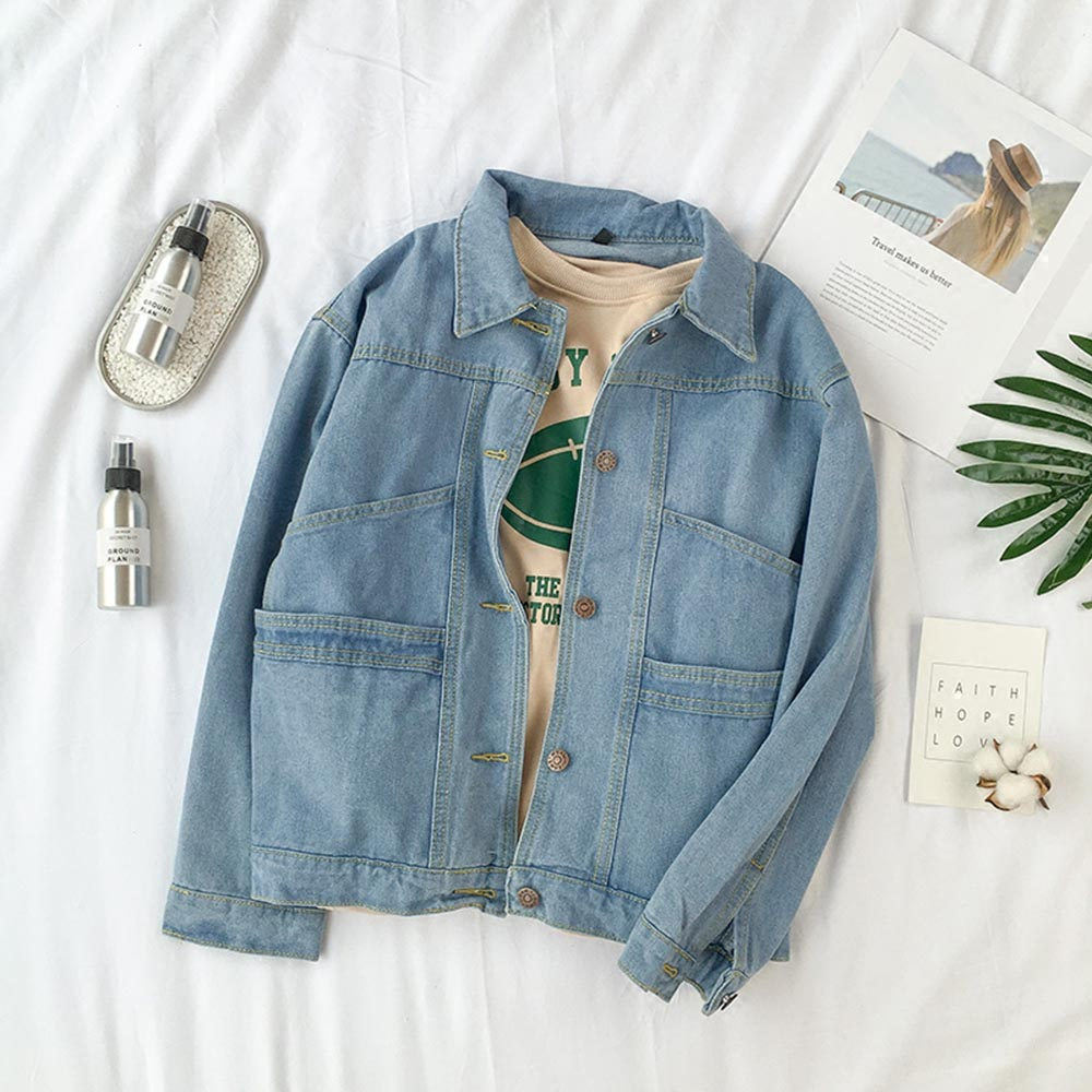 Women autumn vintage blue denim   basic     jacket   long sleeve turn-down collar fashion loose high street chic girl retro jeans   jacket