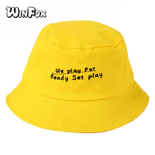 Winfox Fashion Soft Letter Embroidery Bucket Hats Black Yellow Unisex Bob Cap Hip Hop Gorros Men Women Panama Fishing Hat