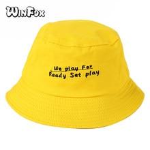 0748ba45fb6 Winfox Fashion Soft Letter Embroidery Bucket Hats Black Yellow Unisex Bob  Cap Hip Hop Gorros Men Women Panama Fishing Bucket Hat