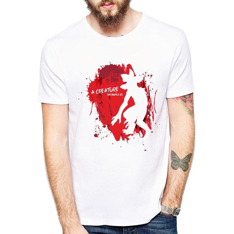 New 2018 Fashion Stranger Things Print T-shirts Original Character Design Mens T Shirts Summer Hipster Tops Tshirt Homme