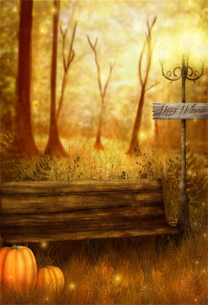 Laeacco Хэллоуин дерева деревянная скамья тыквы фотографии Фоны индивидуальные фотографические фонов для фотостудии