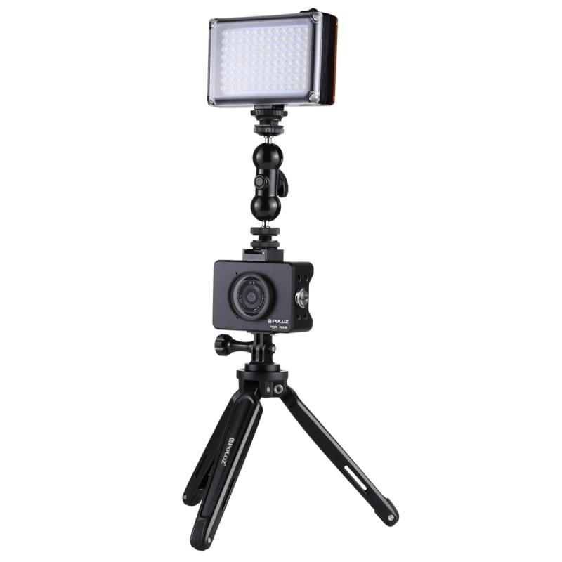 PULUZ pour Sony RX0 boîtier boîtier coque en alliage d'aluminium Cage + rotule pivotante bras magique + trépied de bureau montage Kit de lumière Studio Photo