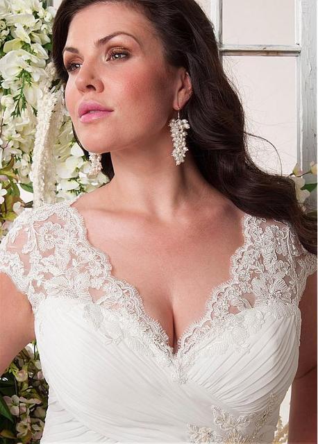 Nueva Sexy Ruffles vestido de Bola Vestidos de Novia 2016 de Encaje de La Falda vestido de Boda Nupcial Sheer Cuello Novia vestido de noiva WD3