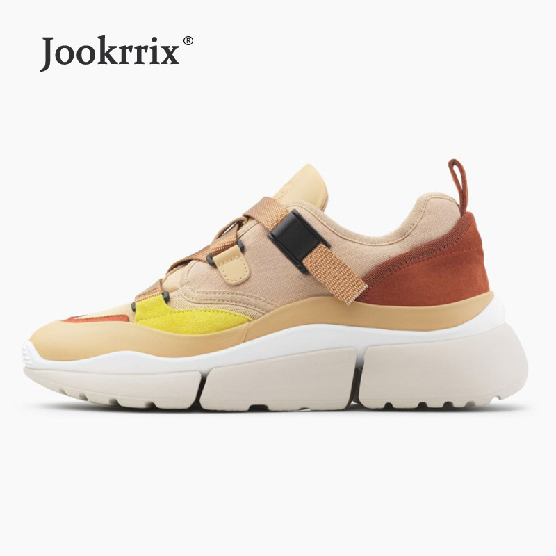 Jookrrix 2018 White Shoes Women Brand Casual Platform Sneakers High Top Lady chaussure Autumn footware Buckle Female Shoes Soft