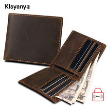 Klsyanyo Crazy Horse Leather Man Women Wallet Purses Neutral Rfid Blocking Money Bags Wallet With Card