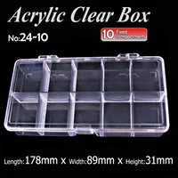 2pcs Lot 10cells Jewelry Boxes Plastic Acrylic Cosmetic Nail Art Pill Box Case Portable Storage Container