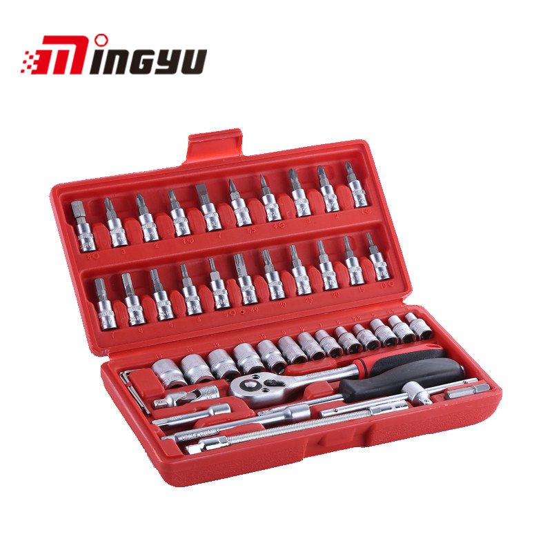 New 46PC Socket Set Screwdrivers Spanner Ratchet Hand Tools Set For Household Auto Repairing Promotion