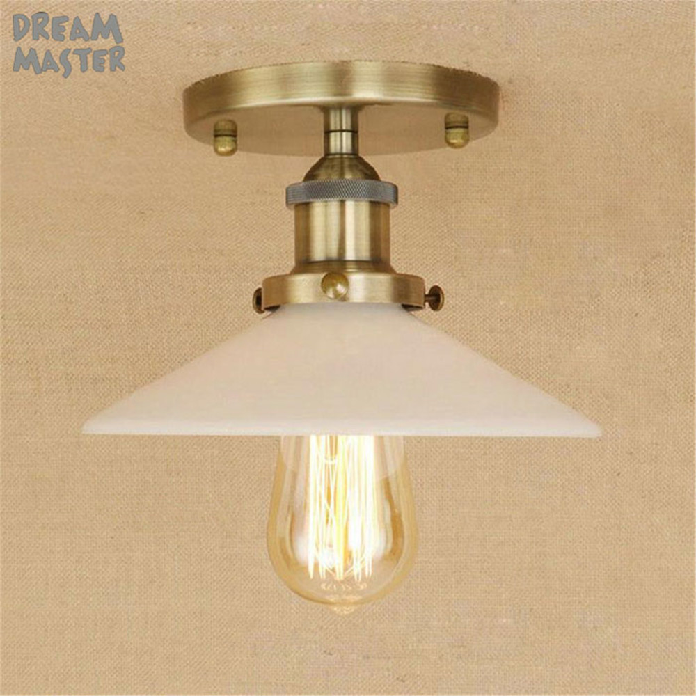 Loft Vintage Ceiling Lamp Retro bronze Ceiling Light Industrial Design Edison Bulb glass Lampshade novation Lighting Fixture loft vintage mirror glass ceiling lamp retro ceiling light industrial edison bulb antique lampshade ambilight lighting fixture