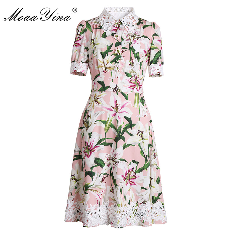 MoaaYina Fashion Designer Runway dress Spring Summer Women Dress Short sleeve lily Floral-Print Lace Slim Elegant Dresses