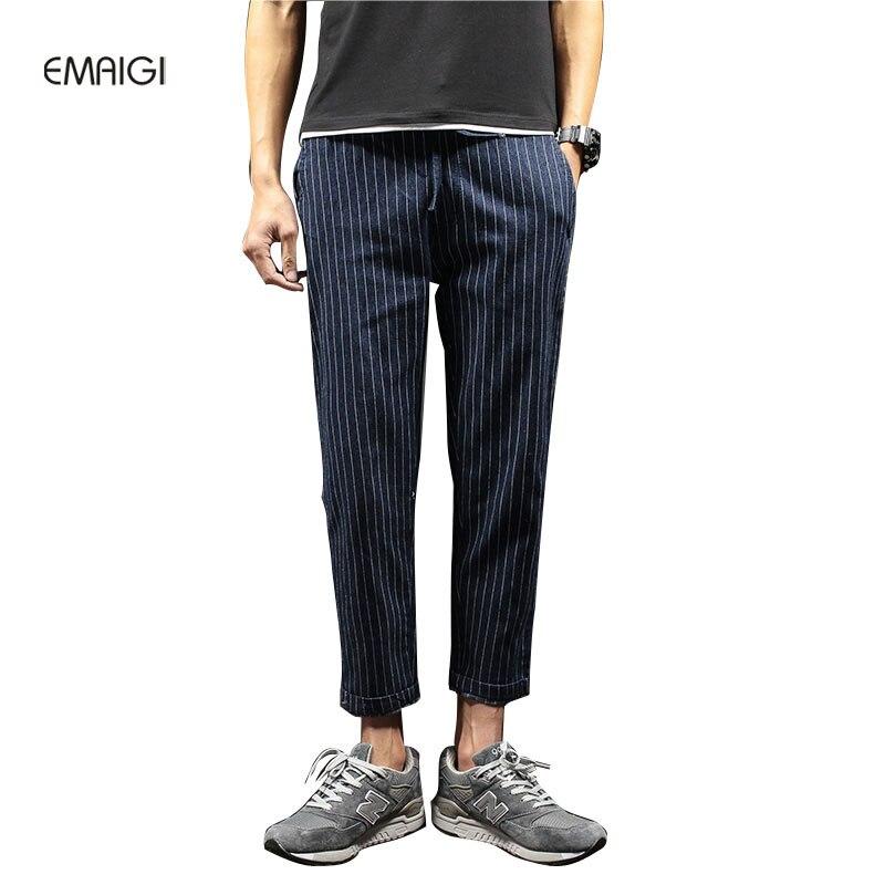 ФОТО Men Fashion Casual Denim Pant Plus Size M-5XL Stripes Jeans Male Hiphop Denim Harem Pant Jean Trousers