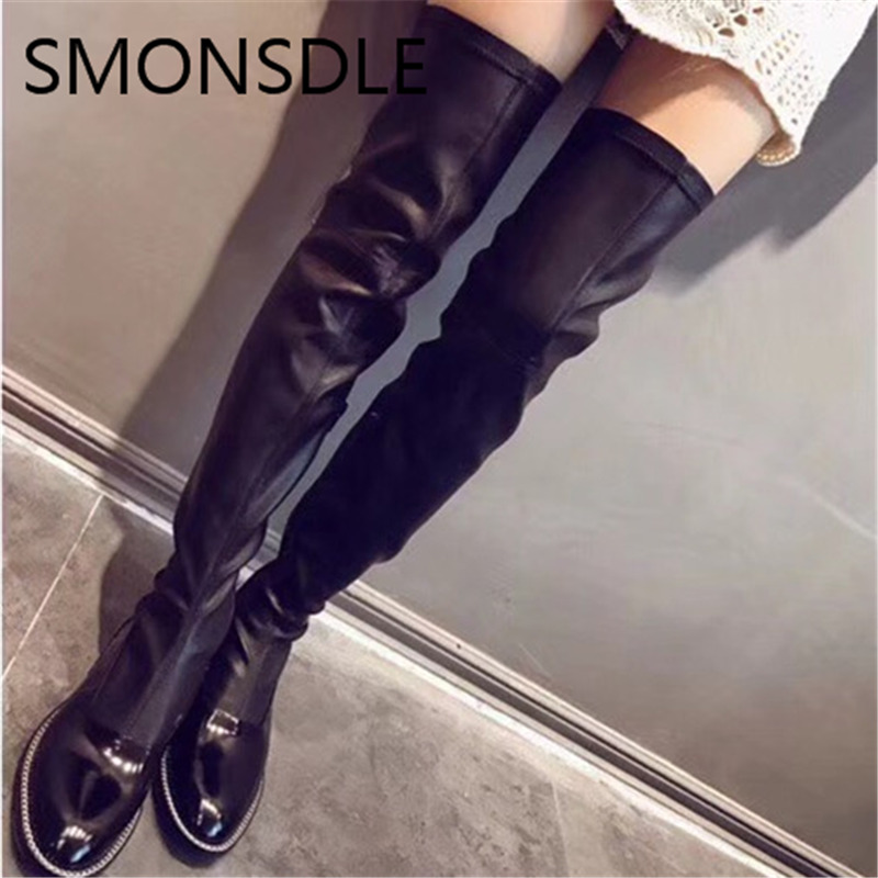 купить SMONSDLE New Fashion Design Over the Knee Women Boots Black Round Toe Slip On Low Heel Women Boots Autumn Winter Shoes Woman по цене 6656.43 рублей