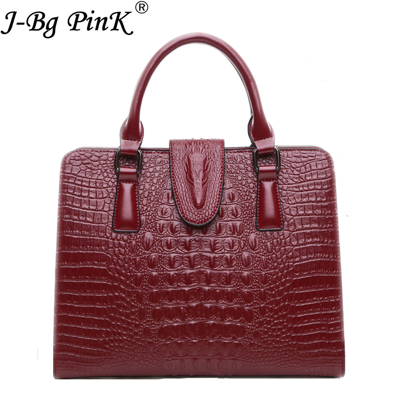 2018 Crocodile pattern 100% Genuine leather Women Handbag Classic fashion female Cross Handbag of bill of lading Messenger bag qiaobao 2018 new korean version of the first layer of women s leather packet messenger bag female shoulder diagonal cross bag