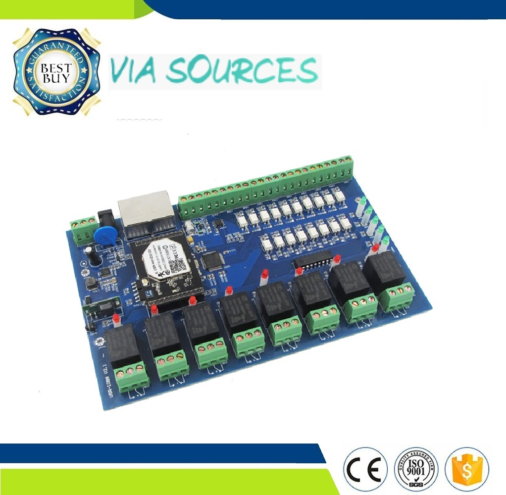 Free shipping 8 in 8 out Wifi Network Relay Controller Module, Local / Remote Timer Control, PC Android iOS LAN WAN TCP RS485