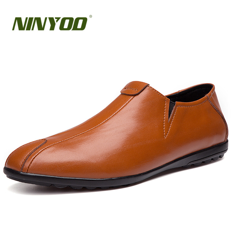 NINYOO ainulaadne disain Meeste vabaajajalatsid Ehtne nahast kingad - Meeste jalatsid - Foto 1