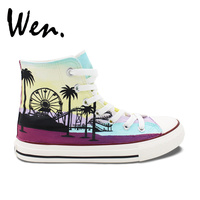 Wen Hand Painted Canvas Sneakers Original Design Custom Seaside Coconut Tree High Top Men Women's Canvas Sneakers