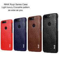 IMAK Ruiyi Series Luxury Crocodile Skin Leather Case For OnePlus 5T Three Hard PC Back Cover