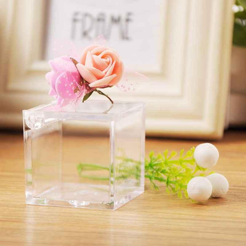 透明キューブ結婚式の好意キャンディーボックスプラスチック透明なクリアギフトボックスクリスマスベビーシャワー
