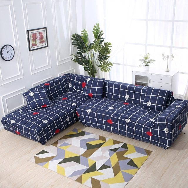 pillow covers for living room lighting ideas with low ceiling 2pcs cushion classical blue plaid stretch l shape sofa universal elastic furniture