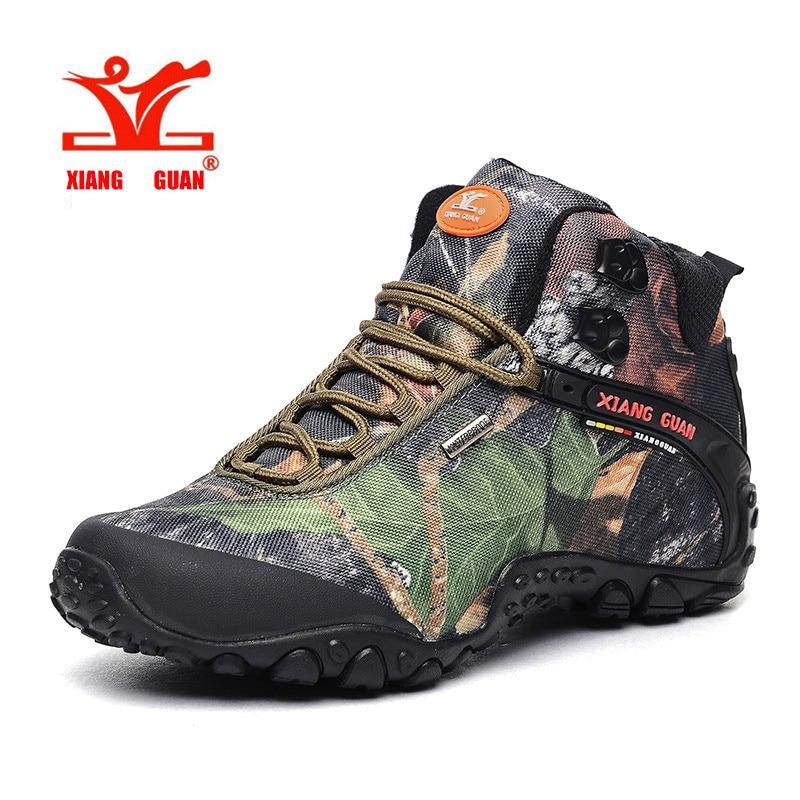 XIANGGUAN Lelaki Hiking Boots Lelaki Kalis Air Mendaki Kasut Berkhemah Tinggi Untuk Perempuan Luar Negara Desert Camo Camouflage