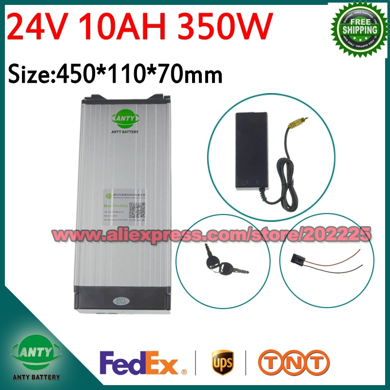 e Bike Battery 24V 10Ah 350W Lithium Electric Bike Scooter Battery 24v with 29.4V 2A Charger,15A BMS Free Shipping 24v Battery free customs taxes 24v 20ah e bike battery li ion 24v battery pack for e bike 24v 20ah lithium battery with charger