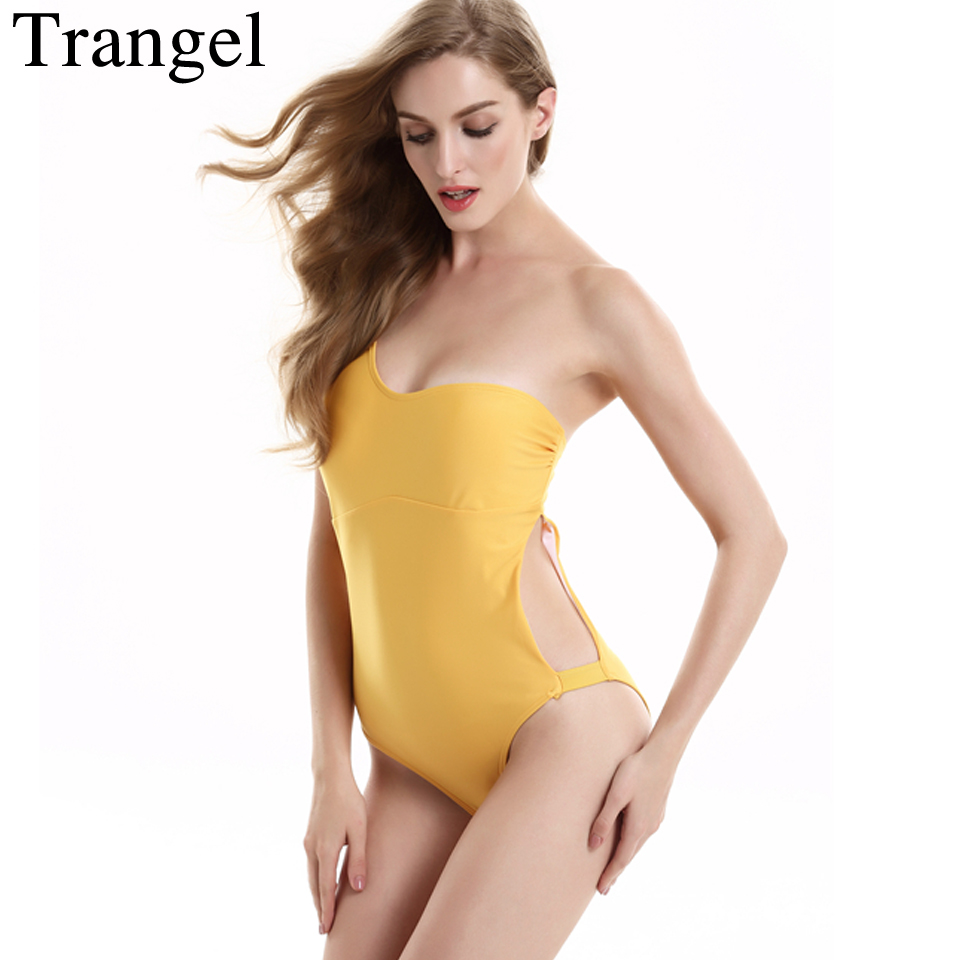 Trangel Shoulder One Piece Bathing Suit Women Cut Out Swimwear Push Up Yellow Monokini Beachwear SwimSuit Female Bodysuit fashionable strappy printed cut out one piece swimsuit for women