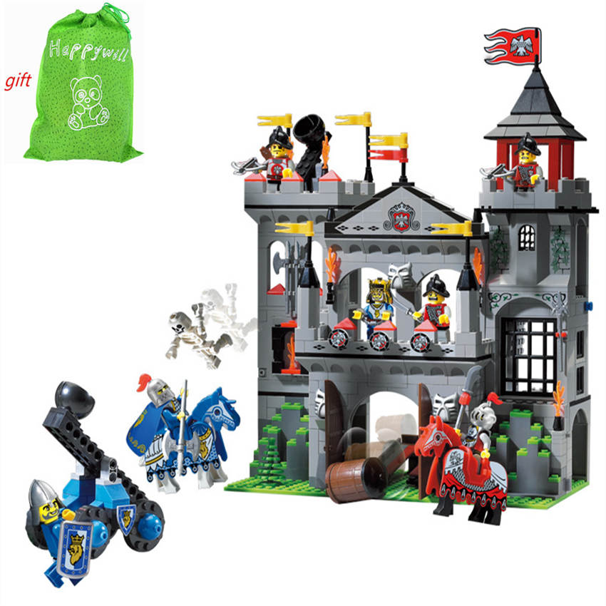 Happywill Enlighten 1021 New Medieval Lion Castle Knight Carriage Building Blocks Sets Model Bricks Kids Toys for children DIY enlighten castle building block educational building blocks knight balista arrow model blocks playmobil toys for children