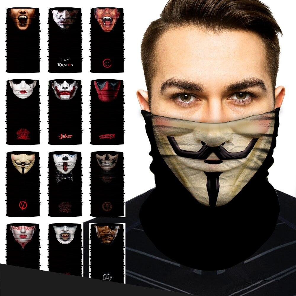 2019 Moda 3d Moto Balaclava Collo Magia Viso Maschera Bike Anonymous Deadpool Jolly Viso Maschera Anti-uv All'aperto Senza Soluzione Di Continuità Bandane Cranio