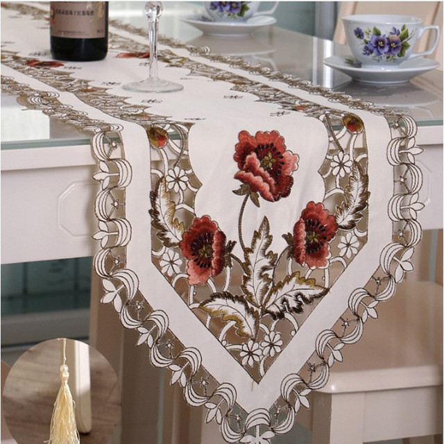 Delicate Embroidered Table Runner. High Quality Polyester Decorative Table  Cloth. Flower Pattern.Size