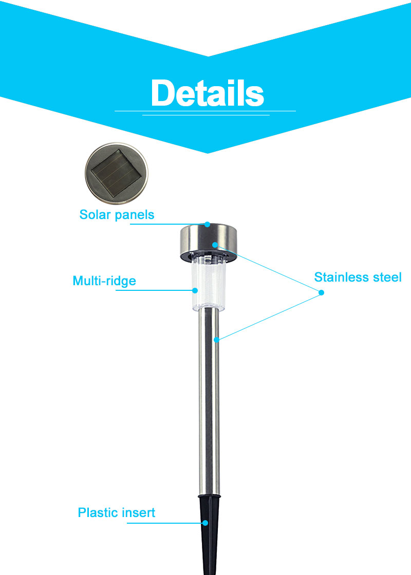 Outdoor Solar Light Colorful Changing Solar Lawn Light Garden Lamp Waterproof Stainless Steel Yard Path Lawn Lamp 10