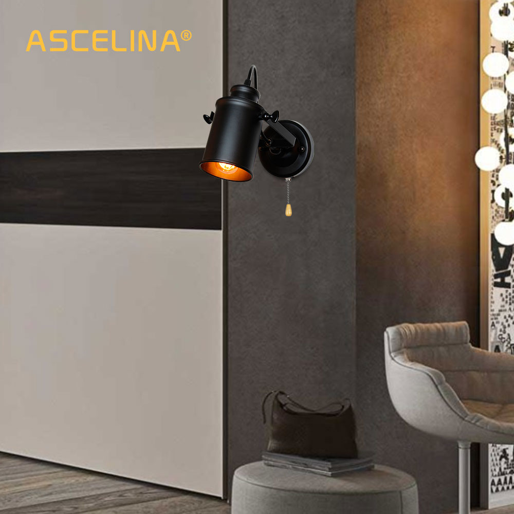 Image 5 - Industrial Wall Lamp Vintage wall lights with Pull chain switch handy Retro sconce Loft American country led wall light fixture-in LED Indoor Wall Lamps from Lights & Lighting